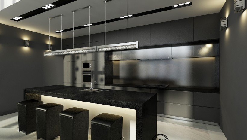 Dark timber in a quite small kitchen