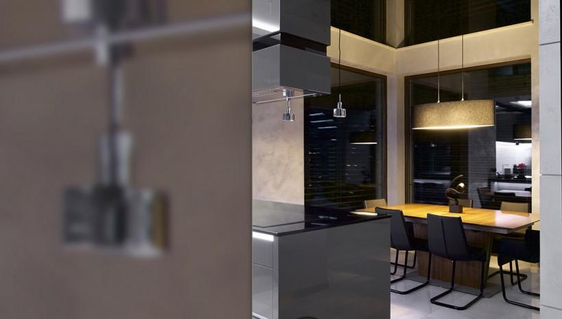Large T-shaped kitchen design